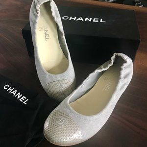 Chanel Gray Snake & Linen Canvas Ballet Flats